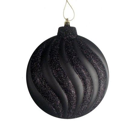 6ct Matte Jet Black Glitter Swirl Shatterproof Christmas Disc Ornaments 6.25