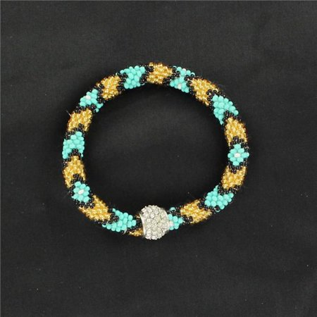 M&F Western 29530 Seed Bead Bracelet with Larger Bead, Black & Yellow - image 1 de 1