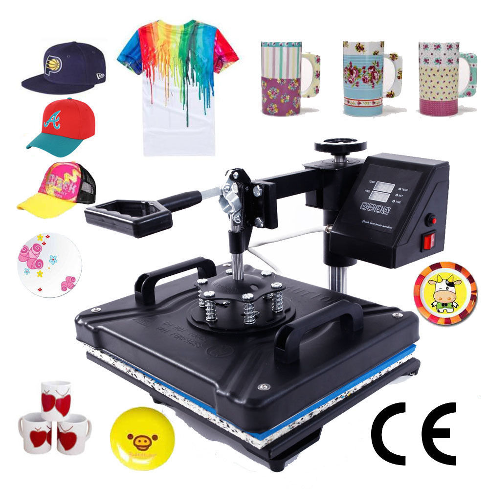 Zimtown Digital 5in1 Hot Heat Press Transfer Sublimation Machine for T-Shirt Cup Hat Mug Plate Cap Printing, Dual LCD Timer