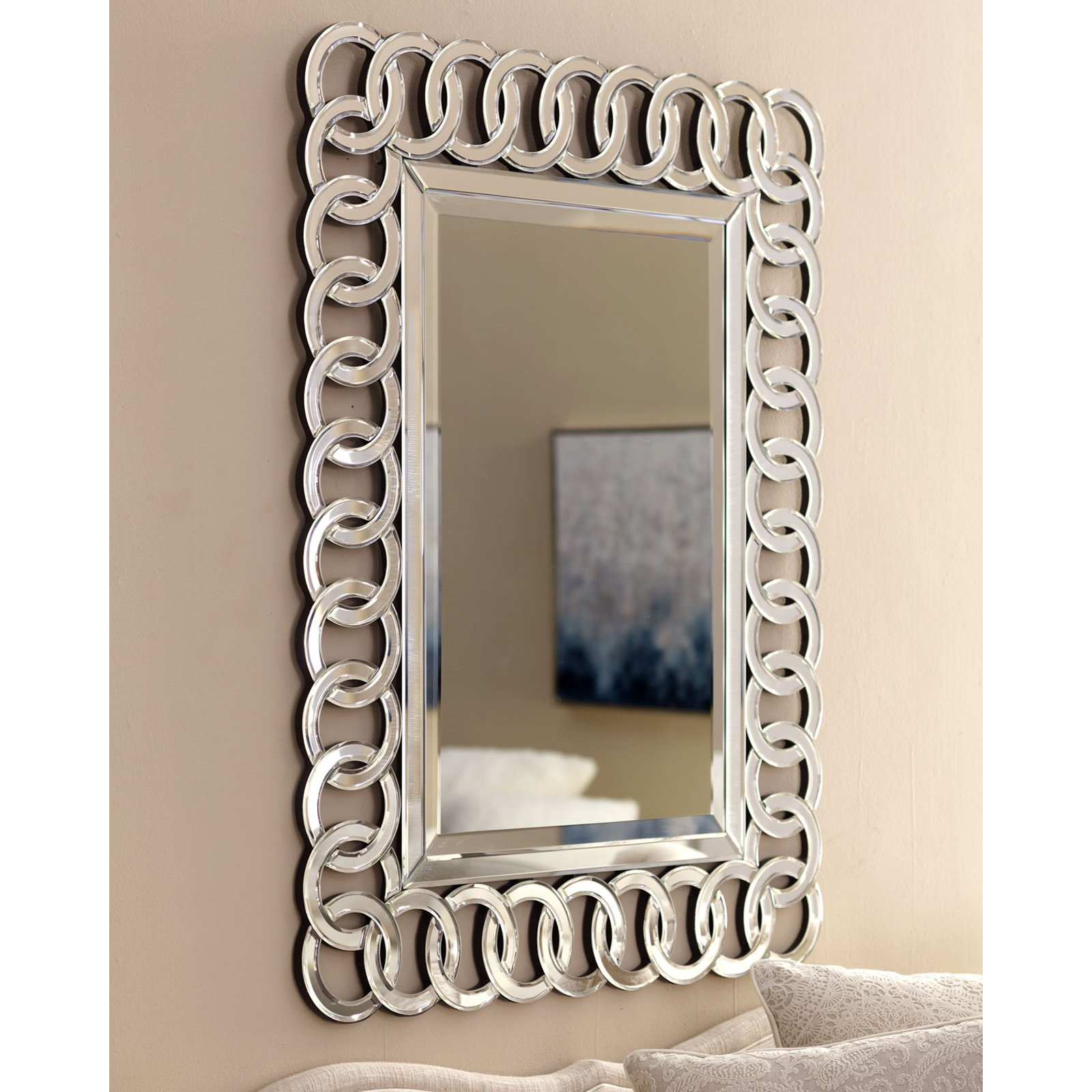 Afina Modern Luxe Circles Wall Mirror - 30W x 42H in.
