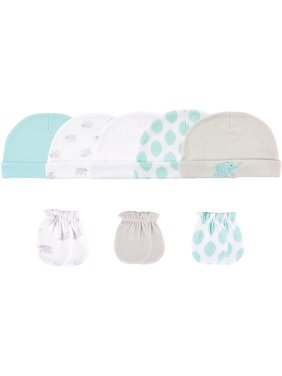 Luvable Friends Baby Boy or Girl Gender Neutral Cap and Scratch Mittens, 8-Pack