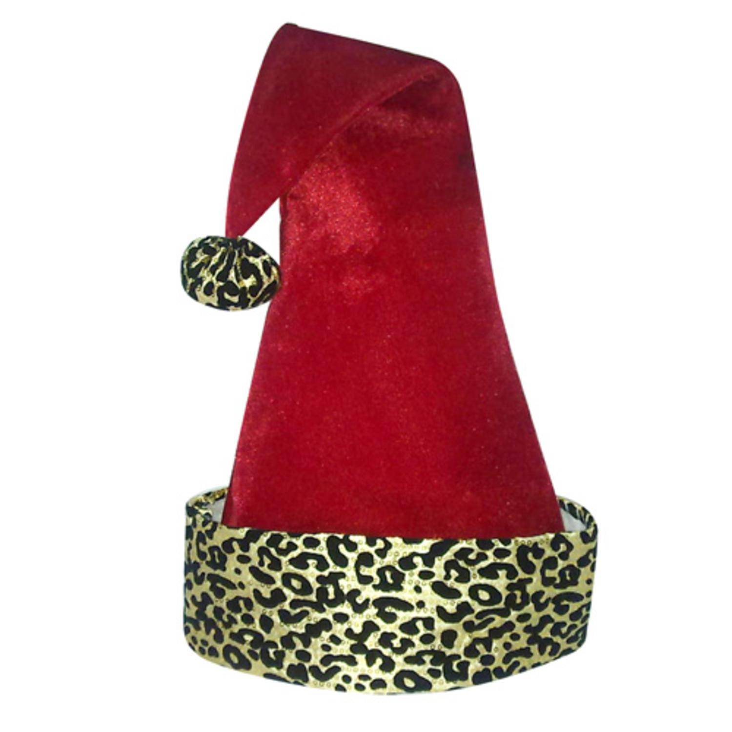 "22"" Diva Safari Adult Red Velveteen with Gold Print Santa Hat with Pompom"