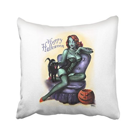 WinHome Vintage Fashion Happy Halloween Zombie Girl Pin Up Pumpkin Polyester 18 x 18 Inch Square Throw Pillow Covers With Hidden Zipper Home Sofa Cushion Decorative - Halloween Throw Up Pumpkin