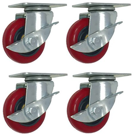 (4 Pack Caster Wheels 300-Pound Swivel Lock Polyurethane Plate with Brake (3 inch with brake))