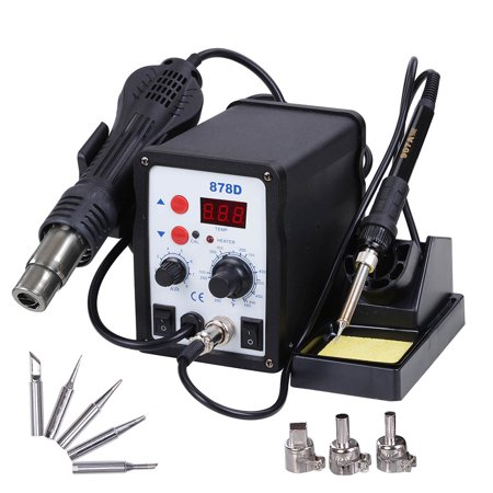 Yescom 2 in 1 Rework Soldering Station 878D Welder Iron Hot Air Gun with 5 Tips and 3 Nozzles (Best Soldering Station With Chisel Tips)
