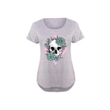 Succulent Skull  - Ladies Plus Size Scoop Neck Tee