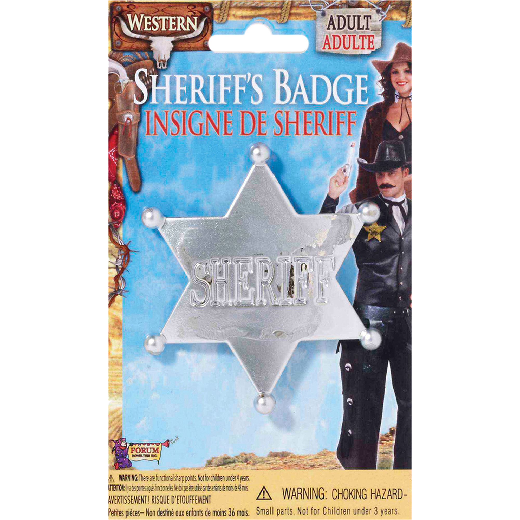 Morris Costumes New Western Replica Wild West Look Sheriff Silver Badge, Style FM66290