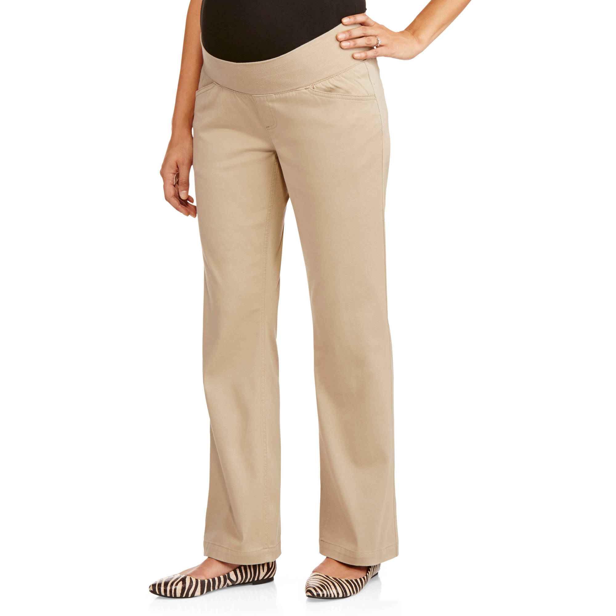 Planet Motherhood Maternity Demi-Panel Basic Career Pants