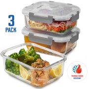 Superior Borosilicate Glass Meal Prep Food Storage Containers (3 Pack, 28 oz.) BPA Free Airtight Snap Locking Lid - Freezer, Microwave, Oven Safe, Portion Control Containers for Home and Work