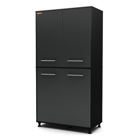 South Shore Karbon Storage Cabinet, Pure Black and Charcoal