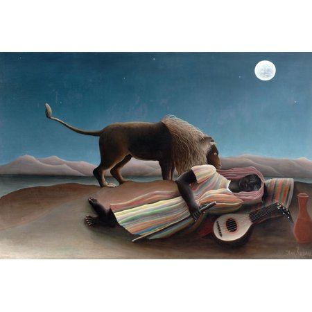 La Bohemienne Endormie (The Sleeping Gypsy) by Henri Rousseau Modern Fine Art Painting with Lion and Figure Print Wall Art By Henri (Henri Rousseau Canvas Painting)