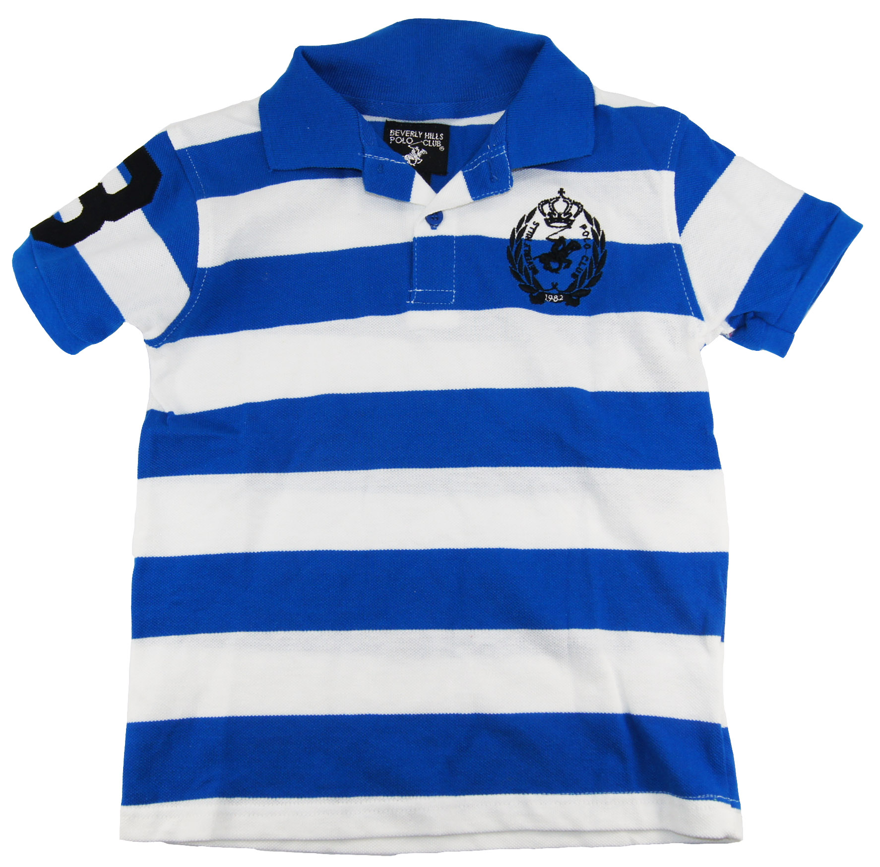 Beverly Hills Polo Club Little Boys' Stipe Short Sleeve Polo Shirt