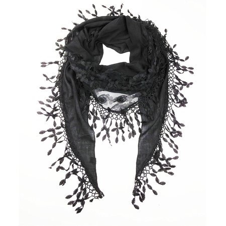 - Women's Lightweight Fancy Triangle Lace Scarf with Floral