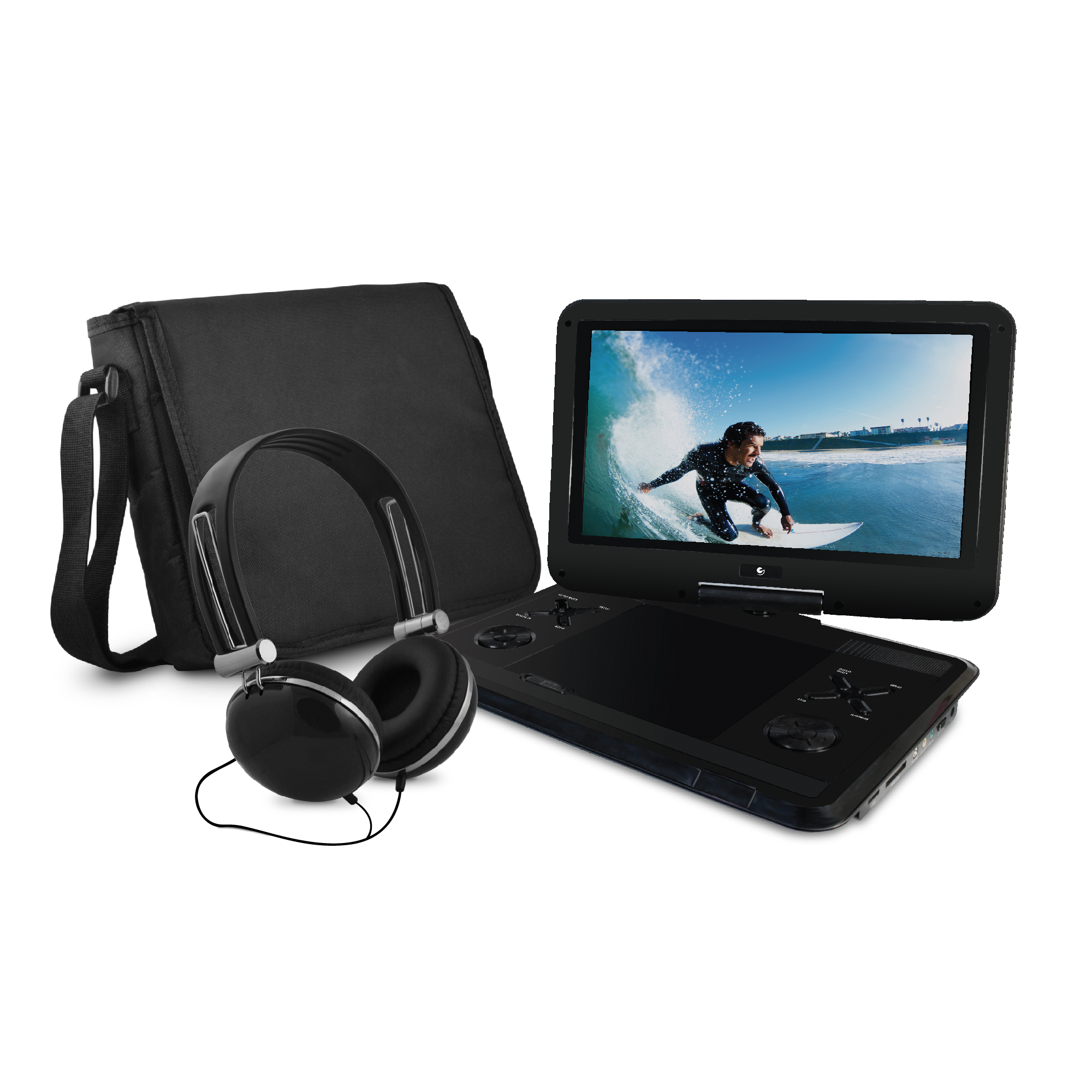 "Ematic 12.1"" Portable DVD Player with Travel Bag and Headphones Bundle - Black"