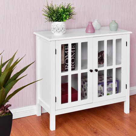 Costway Storage Buffet Cabinet Glass Door Sideboard Console Table