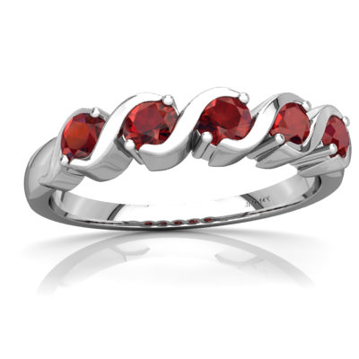 Garnet Anniversary Band Ring in 14K White Gold by