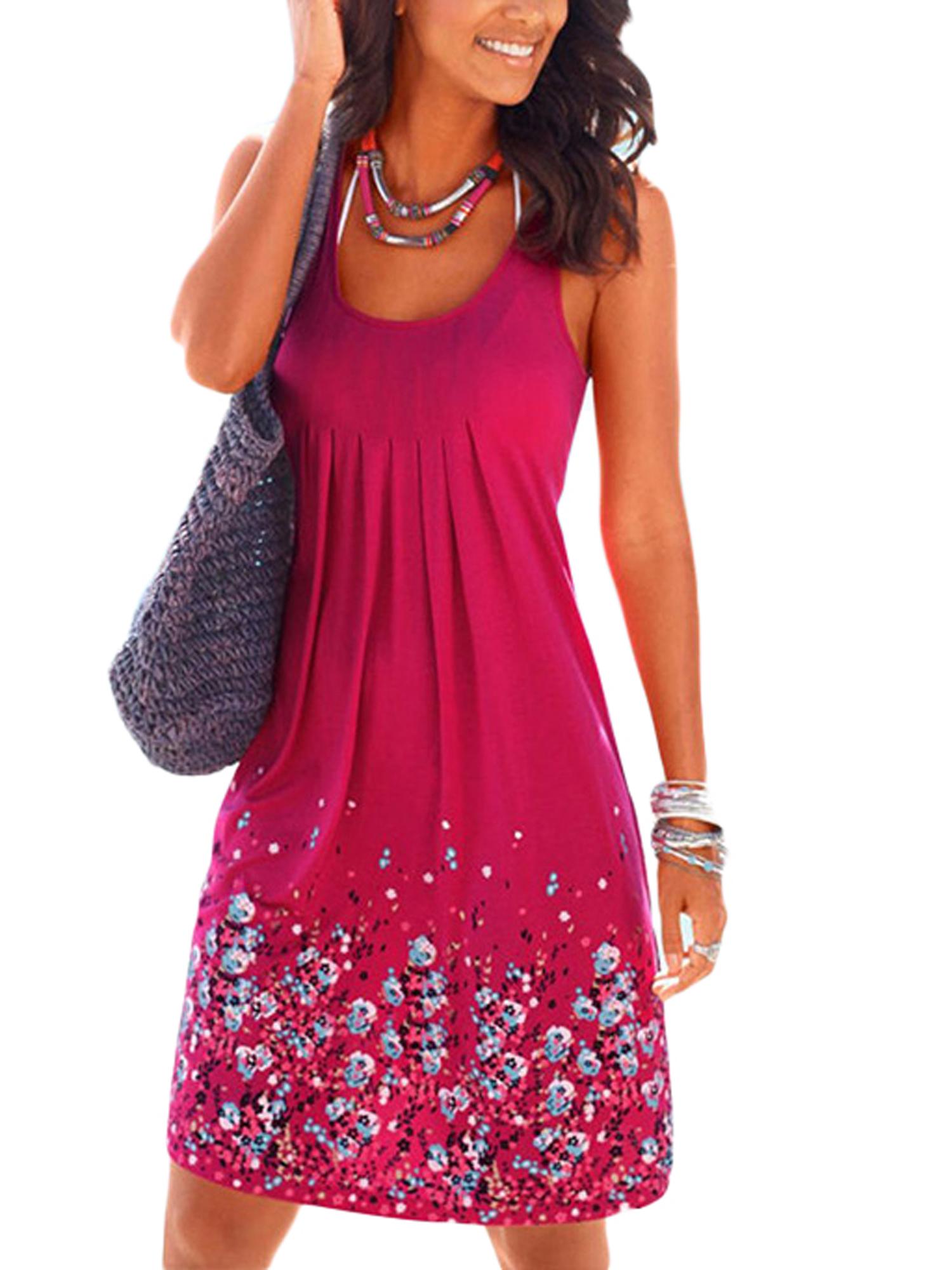 LALLC - Women Boho Floral Sleeveless Plus Size Dress Long Top - Walmart.com