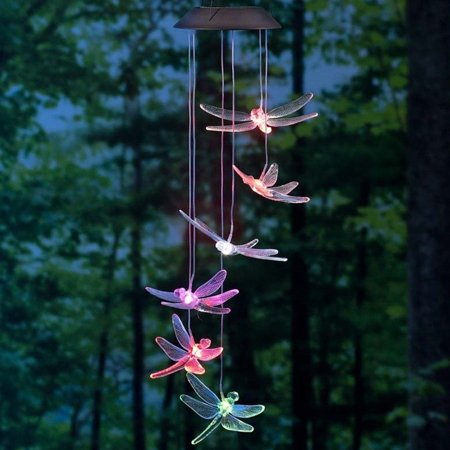 Solar Wind Chimes Dragonfly Yard Garden Decor with Color Changing LED Light ()