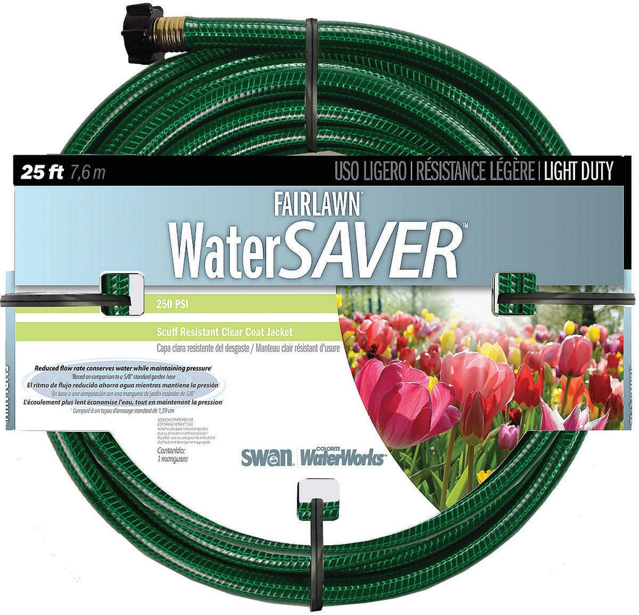 Swan Fairlawn Water Saver Light Duty Garden Hose, 1 2 in ID 25 ft L, Plastic, Green by FAIRLAWN