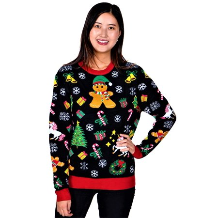 SoCal Look Women's Ugly Christmas Sweaters Gingerbread Black ()