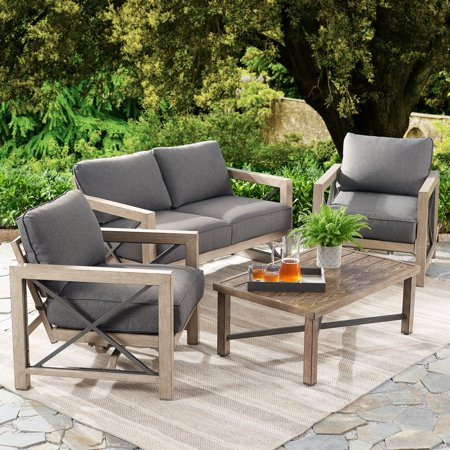 Better Homes & Gardens Remsen 4-Piece Patio Conversation Set with Gray Cushions