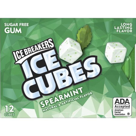 ICE BREAKERS ICE CUBES Sugar-Free Gum, Spearmint Flavor, 12 Pieces](Flavored Ice Cubes)