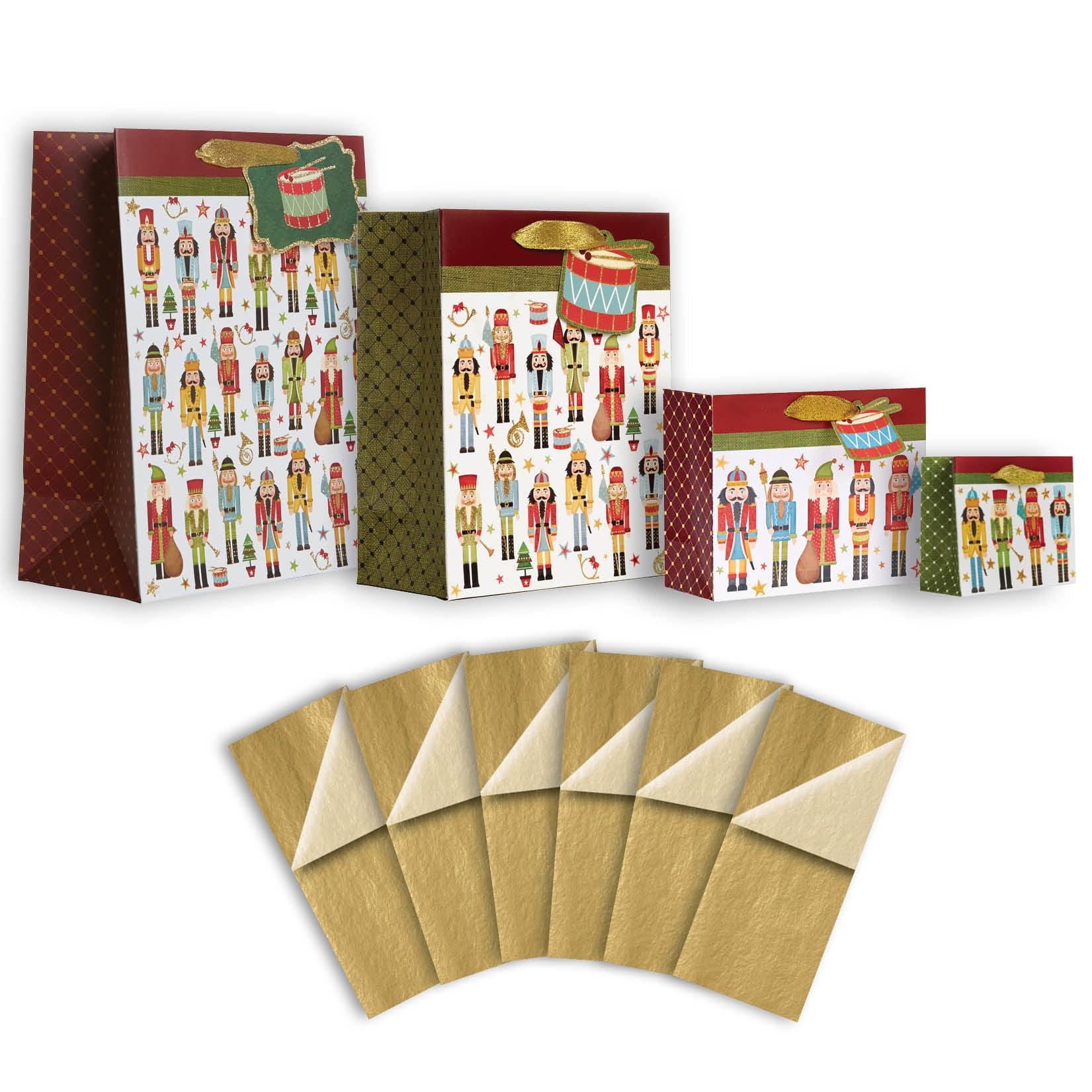 Jillson & Roberts Gift Bag & Tissue Assortment, Nutcracker Christmas (4 Bags)