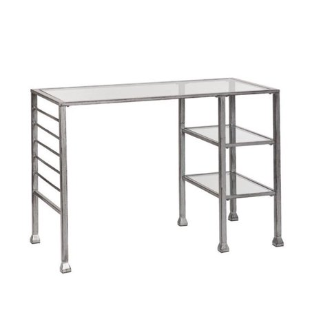 Southern Enterprises Glass Top Metal Writing Desk In Silver And Black