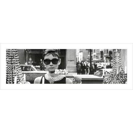 Audrey Hepburn Window Scene Breakfast At Tiffanys Holly Golightly Comedy Movie Film Poster - 38x13 inch