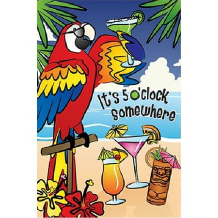 5 O'clock Somewhere Summer House Flag Parrot Beach Large Banner 28