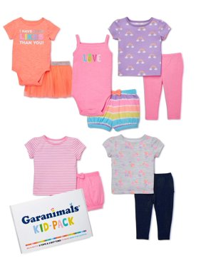 Garanimals Baby Girl Mix & Match Outfits Kid-Pack Gift Box, 10pc Set