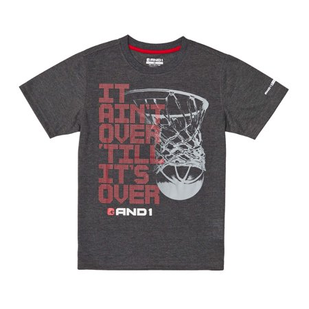 AND1 Boys' Graphic Tee It Ain't Over Basketball Athletic - Boys Over Flowers Usa