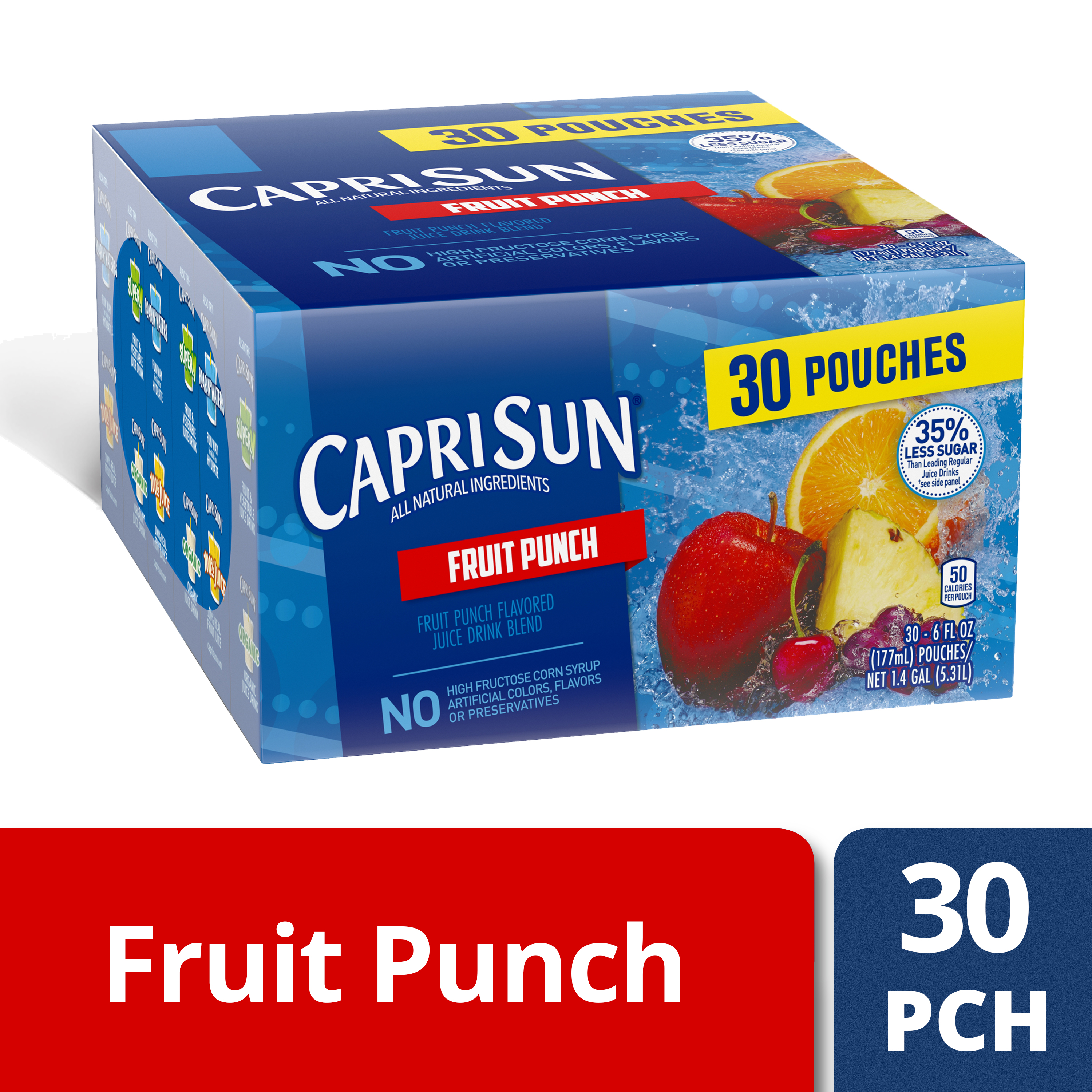 Capri Sun 35% Less Sugar Fruit Punch Flavored Juice Drink Blend (30-6 fl oz Pouches)