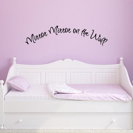 VWAQ Mirror Mirror on the Wall Decal Quote Vinyl Lettering Girls Room Wall  Stickers Beauty Wall Stickers Quotes