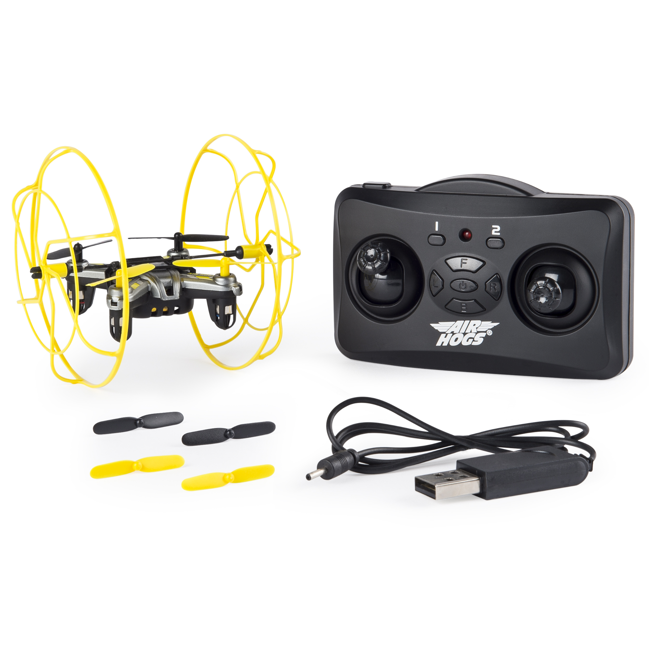 Air Hogs - Hyper Stunt Drone - Unstoppable Micro RC Drone - Yellow