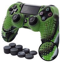 PS4 Controller Grips,Pandaren Studded Anti-Slip Silicone Cover Skin Set Compatible for PS4 /Slim/PRO Controller(CamouGreen Co