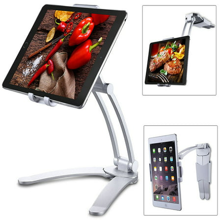 Kitchen Tablet iPad Stand Adjustable Holder Wall Mount for iPad Pro,  Surface Pro, iPad Mini For 4-10.5 inch silver