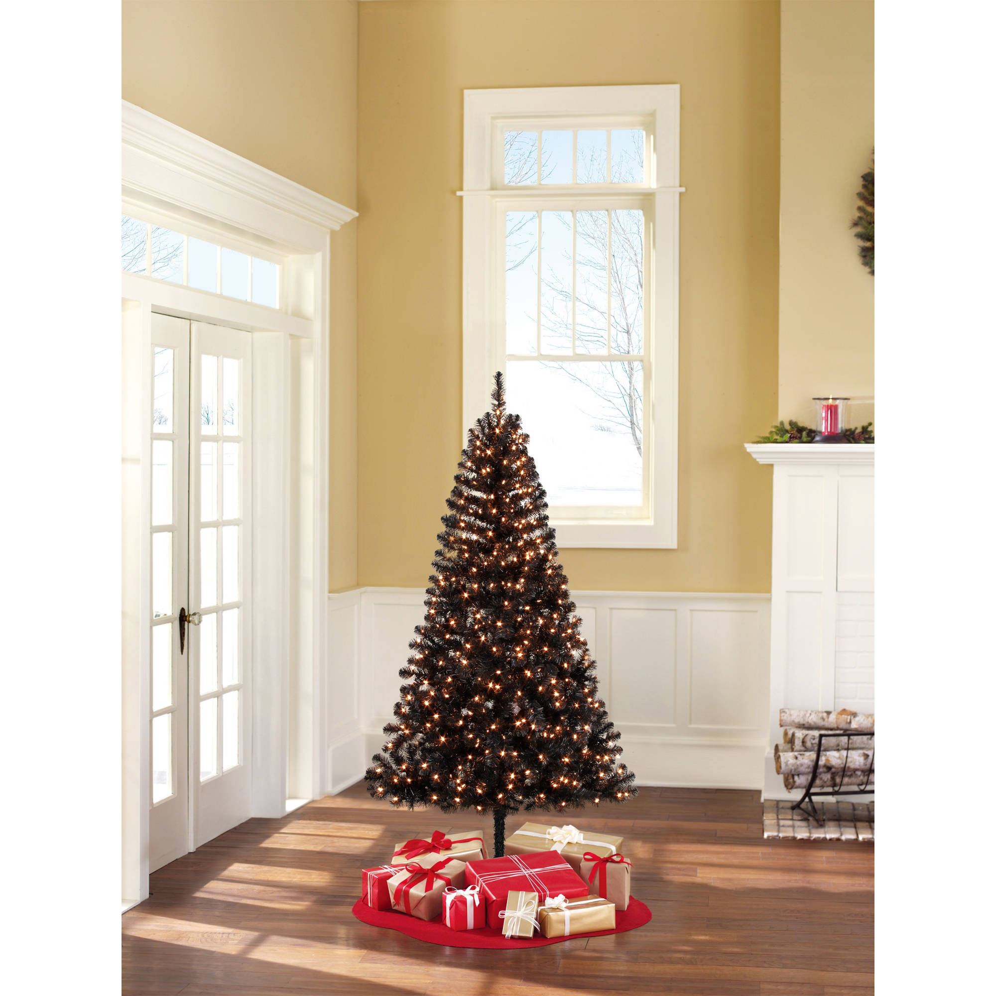 Holiday Time Pre-Lit 6.5' Madison Pine Black Artificial Christmas Tree, Clear Lights