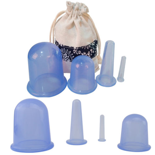 8 Thick Food Grade Vacuum Silicone Cupping w Instruction Anti Cellulite Massage