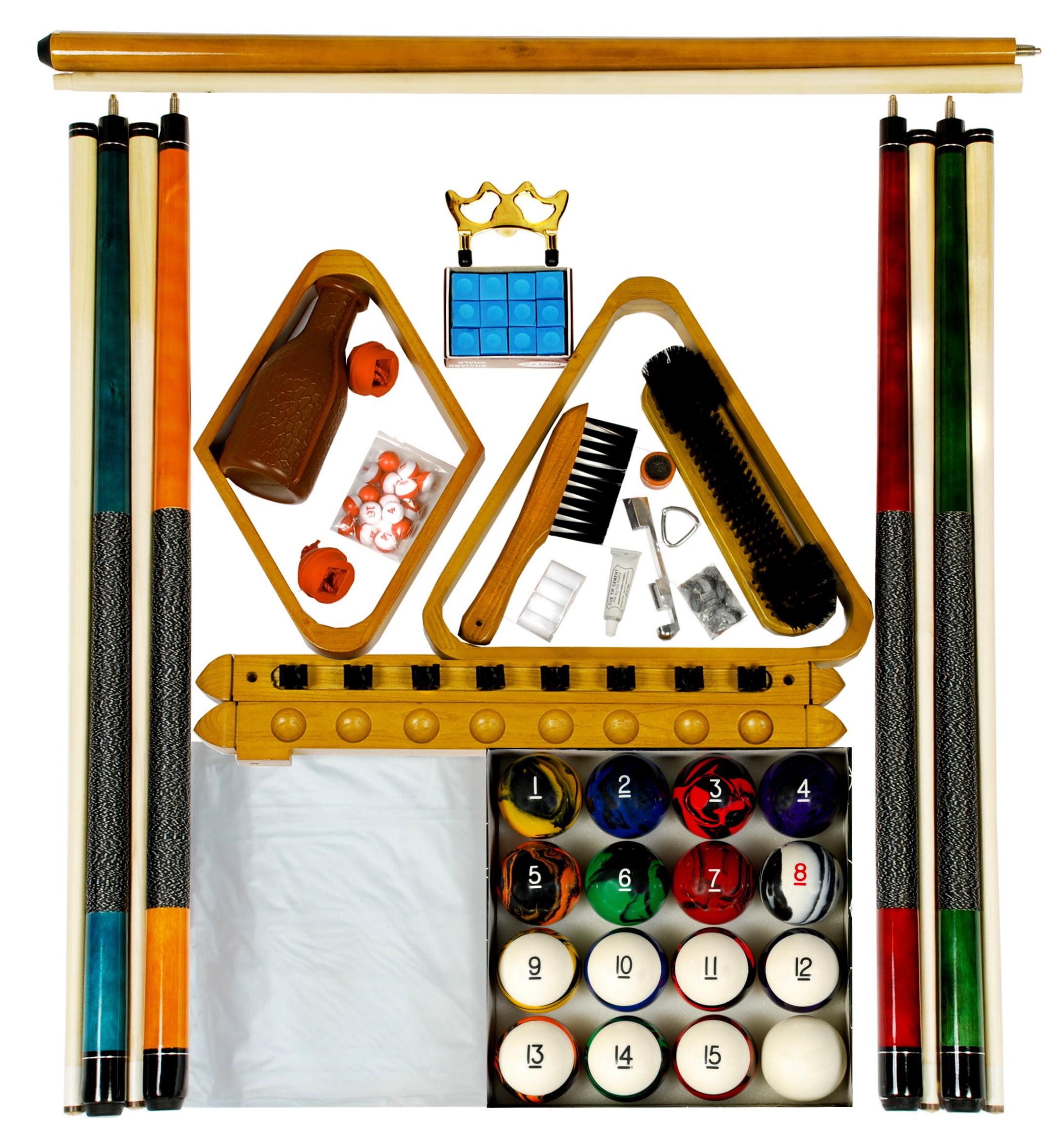Billiard Pool Table Accessory Kit W Tech Style Ball Set Oak Finish by