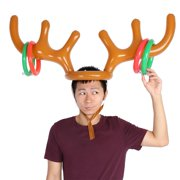Tebru Inflatable Reindeer Hat Toss Game Xmas Holiday Party Toys Gift,Reindeer Antler Hat, Toss Hat
