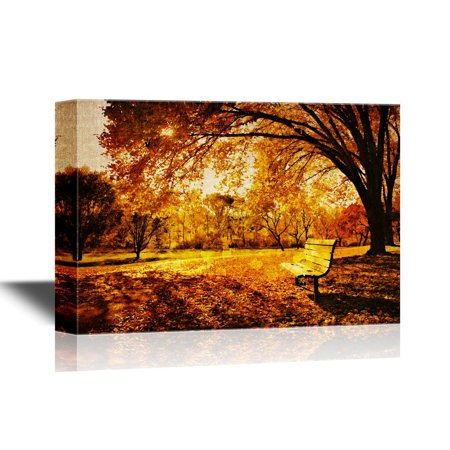 wall26 Canvas Wall Art - Bench in a Park in Late Day Autumn Light - Gallery Wrap Modern Home Decor | Ready to Hang - 24x36 inches ()
