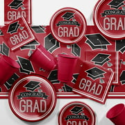 Graduation School Spirit Red Party Supplies Kit for 18 Guests