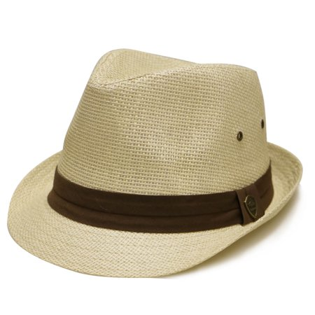 Pamoa Pms500 Solid Paper Toyo Straw Fedora Hat 4 Colors (S/M, Natural) Toyo Fedora Hat