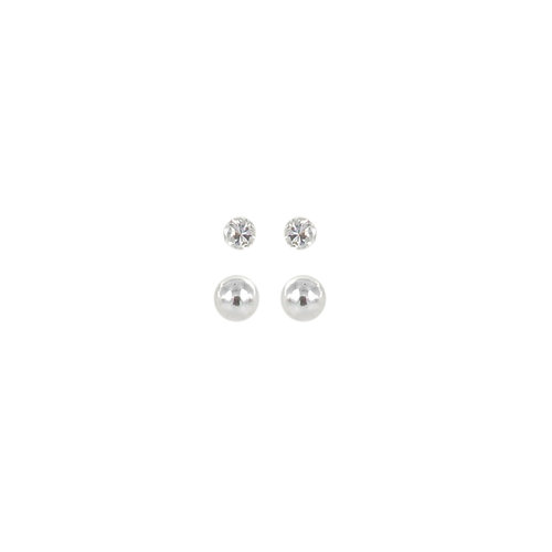 Sterling Silver CZ and Freshwater Pearl Stud Earrings Set, 2 Pairs