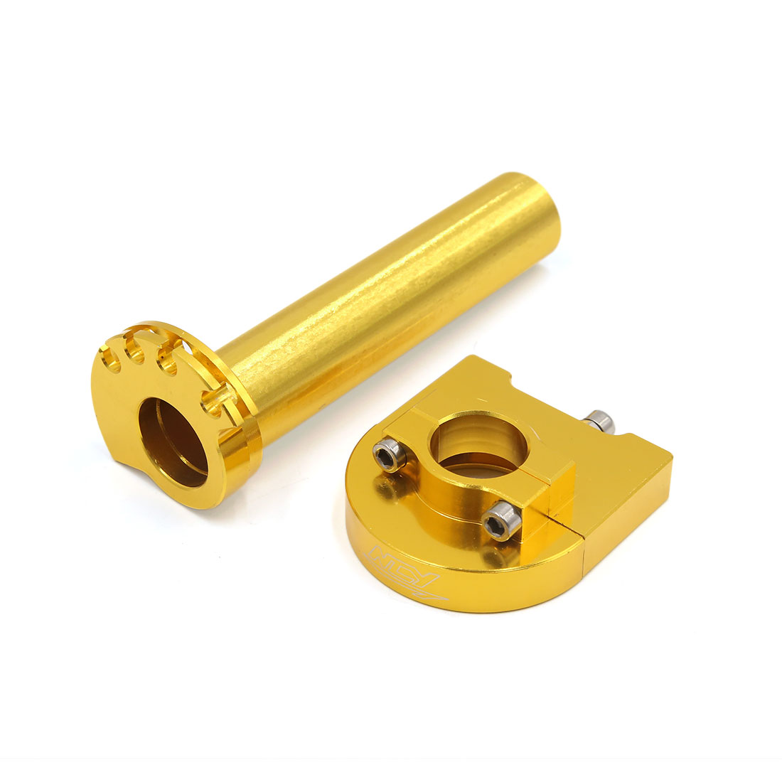 22mm Gold Tone Aluminum Alloy Handlebar Accelerator Hand Grip for Motorcycle