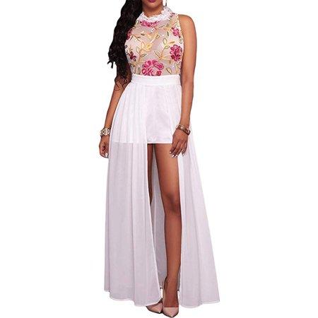 Plus Size Sheer Mesh Embroidery Chiffon Low Maxi Dress
