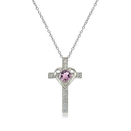 - Sterling Silver Gemstone Birthstone Heart in Cross Necklace