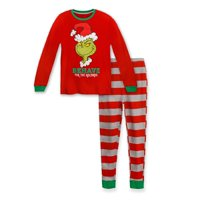 Dr. Seuss The Grinch Toddlers Behave For The Holidays Boys Pajamas, Red, Size: 4T