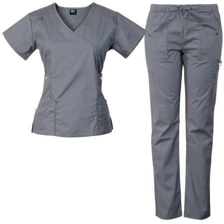 Medgear 14-Pocket Womens Stretch Medical Scrubs Set with Silver Snap Buttons